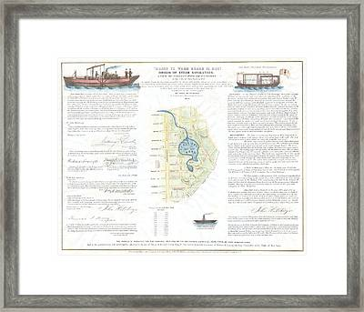 1846 Broadside Of The Collect Pond New York And Steam Boat  Five Points   Framed Print by Paul Fearn