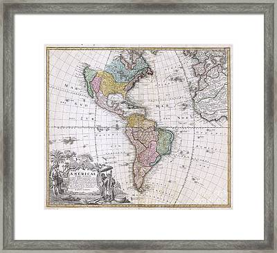 1846 Homann Heirs Map Of North America And South America  Framed Print by Paul Fearn