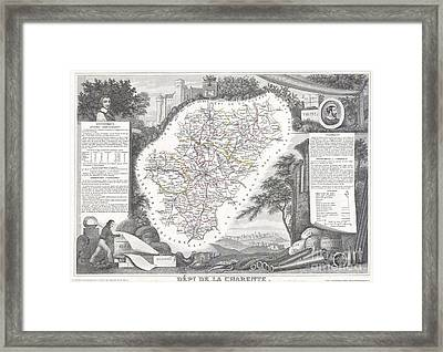 1847 Levasseur Map Of Dept Del La Charente France Framed Print
