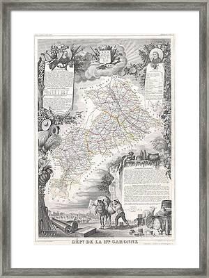 1847 Levasseur Map Of The Dept De La Haute Garonne France Framed Print