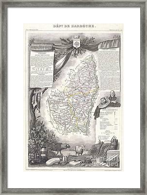 1847 Levasseur Map Of The Dept De Lardeche France Framed Print