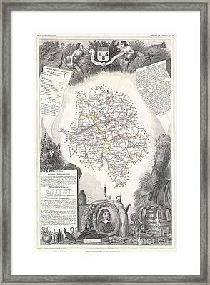 1847 Levasseur Map Of The Dept Dindre Et Loire France Framed Print