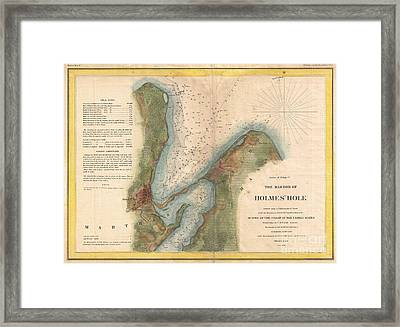 1847 Us Coast Survey Map Of Holmes Hole Vineyard Haven Marthas Vineyard Massachusetts Framed Print by Paul Fearn