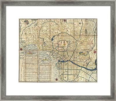 1849 Japanese Map Of Edo Or Tokyo Framed Print