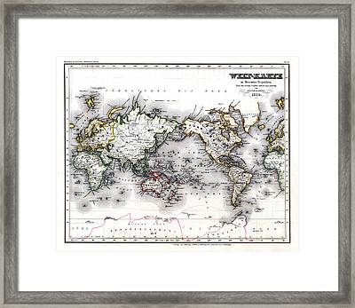 1850 Antique World Map Welt Karte In Mercators Projektion Framed Print by Karon Melillo DeVega