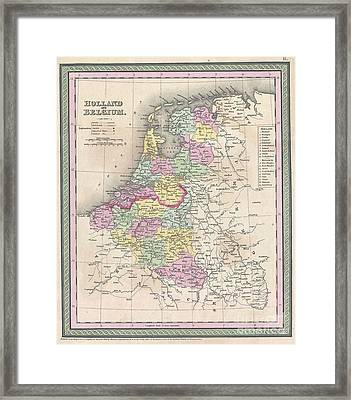 1850 Mitchell Map Of Holland And Belgium Framed Print