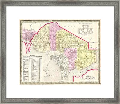 1850 Mitchell Map Of Washington Dc And Georgetown Framed Print by Paul Fearn