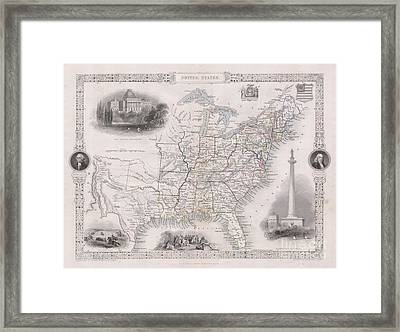 1850 Tallis Map Of The United States Framed Print