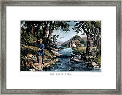 1850s The Trout Pool Fishing - Currier Framed Print