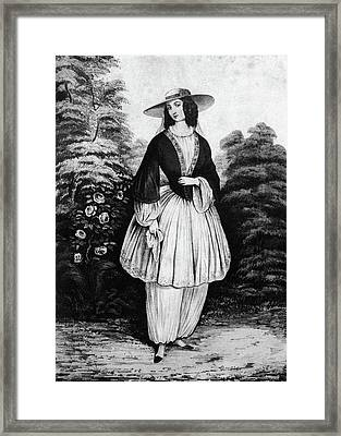1850s Woman Wearing The Bloomer Costume Framed Print