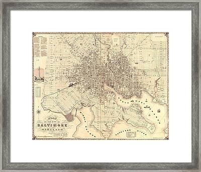 1851 Baltimore Maryland Map Framed Print