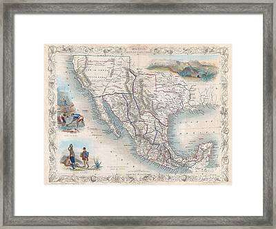 1851 Tallis Map Of Mexico Texas And California  Framed Print by Paul Fearn