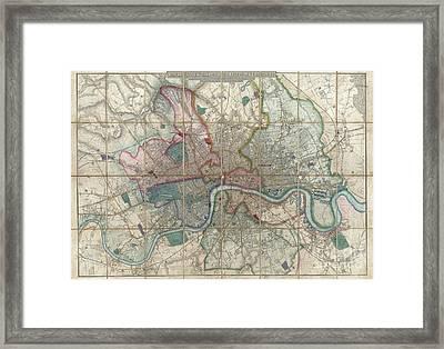 1852 Davies Case Map Or Pocket Map Of London Framed Print