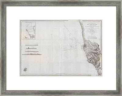 1852 Depot De La Marine Nautical Chart Or Map Of Livorno Tuscany Italy  Framed Print by Paul Fearn