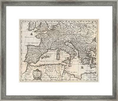 1852 Jansson Map Of Europe In Antiquity Framed Print by Paul Fearn