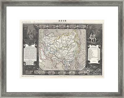 1852 Levasseur Map Of Asia Framed Print by Paul Fearn