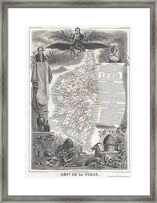 1852 Levasseur Map Of Corsica  Framed Print