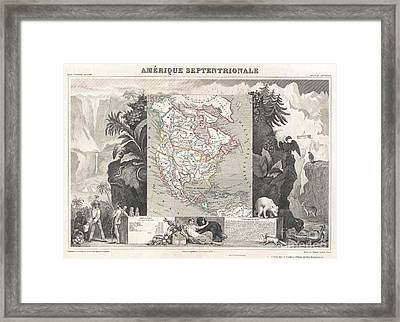 1852 Levasseur Map Of North America  Framed Print