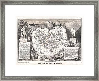 1852 Levasseur Map Of The Department De La Haute Loire France Loire Valley Region Framed Print by Paul Fearn