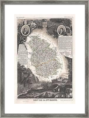 1852 Levasseur Map Of The Department De La Haute Marne France Champagne Wine Region Framed Print