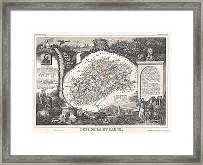 1852 Levasseur Map Of The Department De La Haute Saone France Burgundy Or Bourgogne Wine Region Framed Print