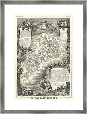 1852 Levasseur Map Of The Department De La Hautes Garonne France Buzet Wine Region Framed Print