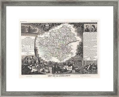 1852 Levasseur Map Of The Department De La Loire Inferieure France Muscadet Wine Region Framed Print