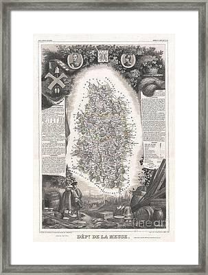 1852 Levasseur Map Of The Department De La Meuse France Brie Cheese Region Framed Print