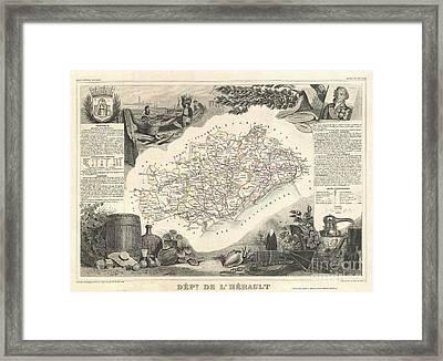 1852 Levasseur Map Of The Department De Lherault France Framed Print by Paul Fearn