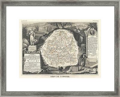 1852 Levasseur Map Of The Department De Lindre France Framed Print