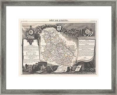 1852 Levasseur Map Of The Department De Lyonne  Framed Print