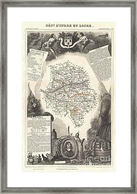 1852 Levasseur Map Of The Department Dindre Et Loire France Framed Print