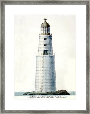 1852 Minot's Ledge Lighthouse  Framed Print by Jon Neidert