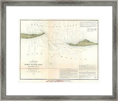 1852 Us Coast Survey Map Of Horn Island Pass Mississippi Sound  Framed Print by Paul Fearn