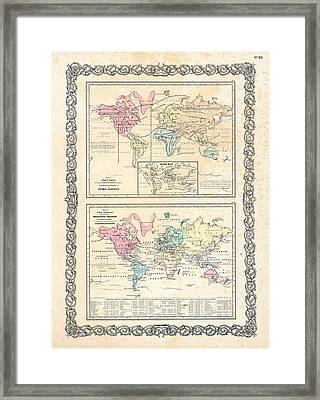 Framed Print featuring the photograph 1855 Antique First Plate Ortelius World Map Animal Kingdom World Commerce And Navigation by Karon Melillo DeVega