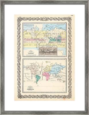 1855 Antique World Maps Illustrating Principal Features Of Meteorology Rain And Principal Plants Framed Print by Karon Melillo DeVega