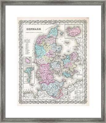 1855 Colton Map Of Denmark Framed Print