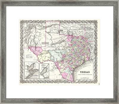 1855 Colton Map Of Texas Framed Print