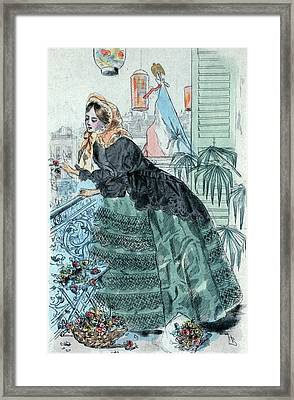 1859, Womens Fashion In Nineteenth-century Paris Framed Print