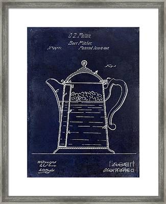 1860 Beer Pitcher Patent Drawing Blue Framed Print