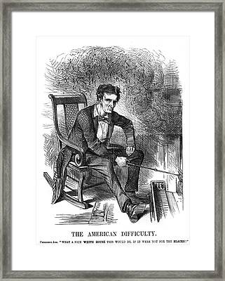 1860s 1861 Punch Cartoon Abraham Framed Print
