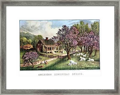 1860s American Homestead Spring - Framed Print