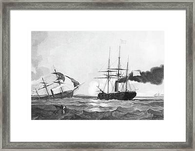 1860s June 19 1864 Css Alabama Sinking Framed Print