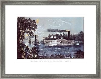 1860s Rounding A Bend On Mississippi Framed Print