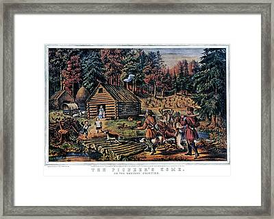 1860s The Pioneer Home On Western Framed Print
