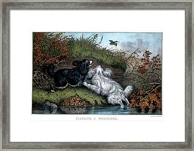 1860s Two Spaniel Dogs Flushing Framed Print