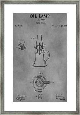 1861 Oil Lamp Patent Framed Print by Dan Sproul