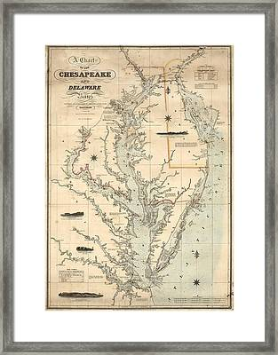 1862 Chesapeake Bay Map Framed Print by Dan Sproul