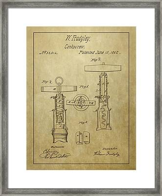1862 Corkscrew Patent Framed Print by Dan Sproul