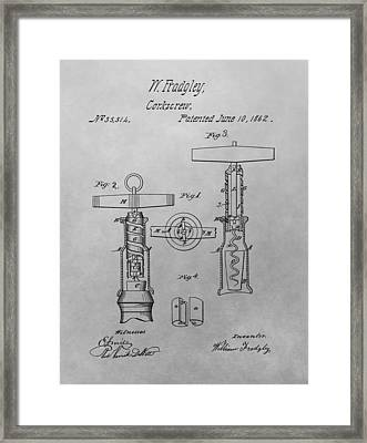 1862 Corkscrew Patent Drawing Framed Print by Dan Sproul